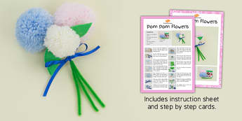 Pom Pom Flowers Craft Instructions - craft, pom pom, flowers