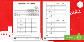 KS1 Christmas Codebreaker Activity Sheet - christmas games, codes, addition, subtraction, y1 and y2, worksheet