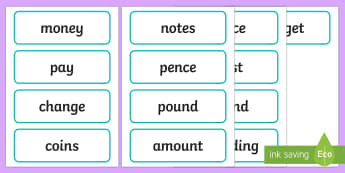 Year 2 Maths Vocabulary Money Word Cards - Year 2 Maths Vocabulary Word Cards Measures Shape and Space - maths word cards, year 2 maths word ca
