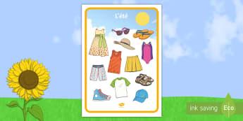Set de mots : L'été - set de mots l\'été, été, mots, vêtements, set de mots, vocabulaire, Summer Clothes Mat - summ