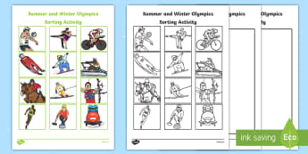 Summer and Winter Olympic Sorting Activity - Rio, Olympics, winter, summer, understanding the world, comparing, similarities and differences, events, sports, sorting