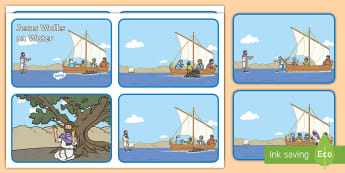Jesus Walks on Water Bible Story Sequencing Cards - gospel, parables, jesus miracles, disciples