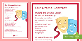 Drama Contract Display Poster - contract, rules, drama, theatre, respect, rights, values, behaviour, performance, brave, proud.