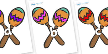 Phase 2 Phonemes on Maracas - Phonemes, phoneme, Phase 2, Phase two, Foundation, Literacy, Letters and Sounds, DfES, display