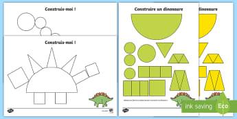 Feuilles d'activités : Construire un dinosaure en figures planes - Cycle 1, Mathématiques, Formes, Motricité, Animaux, Paléontologie, Reptile, Préhistoire,,French