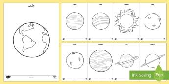 أوراق تلوين الكواكب  - فضاء، كواكب، المجموعة الشمسية، الأرض، عطارد، المشتري،