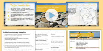 Using Inequalities to Solve Problems Lesson Pack - Inequalities, Algebra, Graphs, Venn Diagrams, Word Problems