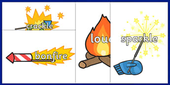 Bonfire Night Topic Words on Fireworks - fireworks, celebrate