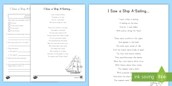'I Saw a Ship A-Sailing' Poem Reading Activity - poetry, reading response, read to self, daily five, center