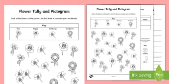 Flowers Tally and Pictogram Worksheets - pictogram, tally chart, tally chart worksheet, pictogram worksheet, flowers tally chart, flowers pictogram, ks2