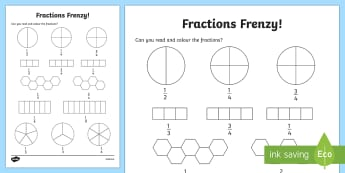 Fractions Frenzy Read and Colour Worksheet / Activity Sheet - fractions, frenzy, read and colour, activity, worksheet
