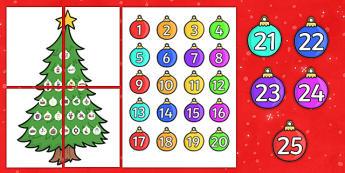 Large Christmas Tree Advent Calendar - christmas, advent calendar, xmas, santa, christmas meal, calendar, advent, tree, large, crackers, bells, toys, presents, reindeer, sleigh, baubles, tree lights, snow man