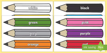 Colour Words on Pencils  - Colour Words on Pencils, pencil, colour display, colour posters, colour, display, poster, posters, c