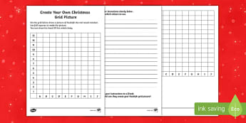 Create Your Own Christmas Grid Picture Worksheet / Activity Sheet-Scottish, worksheet