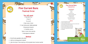 Five Currant Buns Playdough Recipe - Playdough, recipe, cinnamon, currant buns, number, rhymes, songs, EYFS, foundation.