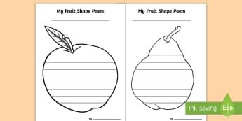 Fruit Shape Poetry - fruit, shape, poem, creative writing, activity sheets, templates, worksheets,Irish