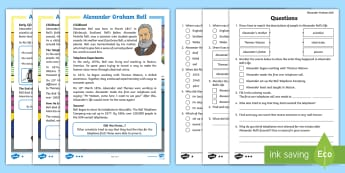 KS1 Alexander Graham Bell Differentiated Reading Comprehension Activity - Science Week, Scientist, Scientists, Inventors, Invention of Telephone, Alexander Bell  Information,