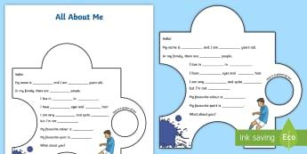 Puzzle : Tout sur moi - Anglais LV - Langues, vivantes, soi, se présenter, couleurs, nombres, description, physique, personnalité, ,Fre