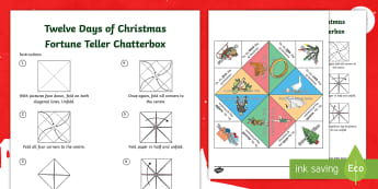Twelve Days of Christmas Fortune Teller Template - Chatterbox, Xmas, Christmas Song, Christmas Craft Activity, Paper Craft