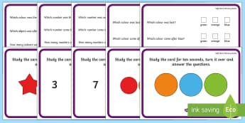 Soft Start Memory Game - CfE Numeracy and Mathematics, number, colour, order, game, memory, remember, working memory.,Scottis