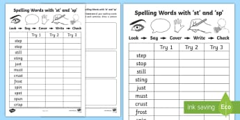 'st' and 'sp' Spelling List Activity Sheets - CCVC, Phonics, consonant, blend, cluster, Early Spelling, Sounding Out, Tallying, Writing Words,Scot