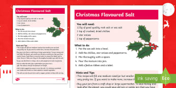 Christmas Spiced Salt Craft Instructions - xmas, festive, homemade, gift, present, cooking, family, parents