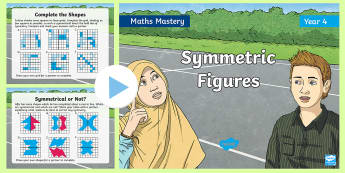 Year 4 Symmetric Figures Maths Mastery PowerPoint - Reasoning, Greater Depth, Abstract, Problem Solving, Explanation,