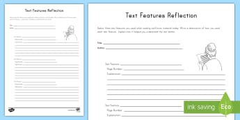 Text Features Reflection Activity Sheet - Captions, headings, Table of Contents, Nonfiction, Glossary
