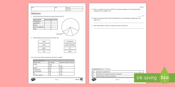 KS3 Nutrition Homework Activity Sheet - Homework, diet, healthy diet, healthy eating, food groups, nutrition, nutrients, energy, energy inta