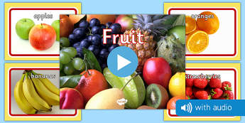 Fruit Audio Flashcards - vegetables, photos, audio sound, flash cards