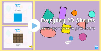 Everyday 2D Shapes PowerPoint English/Romanian - Every Day 2D Shapes PowerPoint - numeracy, shapes, 2d, powerpoint, 2D, shapes, 2D shapes, powerpoint