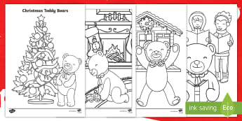 Christmas Teddy Bears Colouring Pages - KS1, Key Stage One, Teddies, Toys, Festive, Themed, Cute, December, Winter