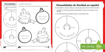 Christmas Crafts Activity Sheet English/Spanish