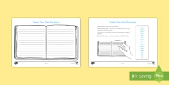 Create Your Own Dictionary Writing Activity - template, writing, dictionary, create your own, english, vocabulary
