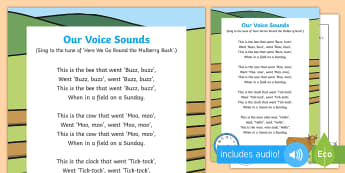 Our Voice Sounds Song - EYFS, Phase 1, Aspect 6,sound effects, letters and sounds, phonics, speech development, speech and l