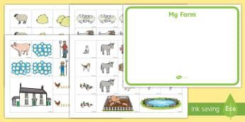 Farm Map Cut and Stick Activity - animals, farmyard, farmer, EYFS, Early Years, KS1, Key Stage 1,