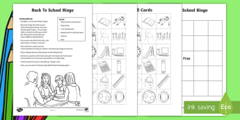 Back to School Bingo - USA, games, first day, classroom, routines,