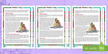 UKS2 Mother's Day Differentiated Fact File - events, mum, religious festivals, traditions, celebration