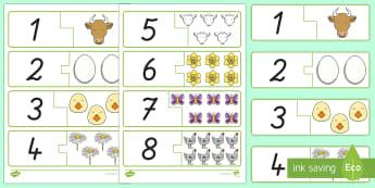 Frühling: Zahlen und Bilder 1 bis 10 Puzzle Spiel - Frühling, Zahlen erkennen, Zahlen 1 bis 10, Puzzle, Spiel