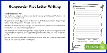 Gunpowder Plot Letter Writing Activity Sheet, worksheet
