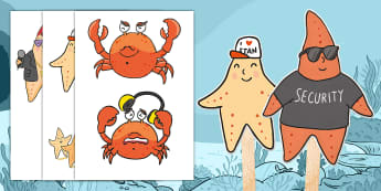 Starry-Eyed Stan Stick Puppets - Twinkl Originals, Fiction, under the sea, seaside, beach, oceans, KS1, EYFS, Role-play, Speaking and