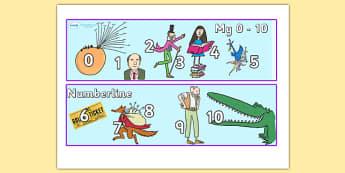 Roald Dahl Number Lines 0 10 - roald dahl, numberlines, roald dahl numberline, numberline 0-10, roald dahl themed numberline 0-10, roald dahl themed