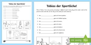 Days of the Week Worksheet / Activity Sheet German - Days of the week, sports, German, worksheet