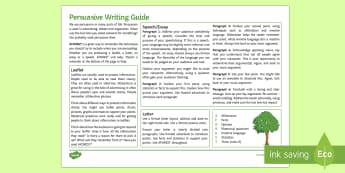 Persuasive Writing (Any Subject) Guide - whole school literacy, persuasion, ks3 , ks4 argument, speech,