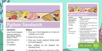 Ronald the Rhino Python Sandwich Recipe - twinkl originals, fiction, KS1, EYFS, Design and Technology, Home learning, Parents, Story Sack