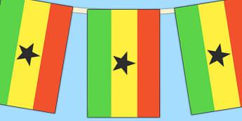 Ghana Flag Display Bunting - countries, geography, flags, ghana