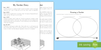 Gardening Texts Compare and Contrast Activity Sheet - Compare and contrast, main idea, multiparagraph, ELA, common core, journal, diary, nonfiction