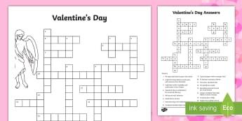 Valentine's Day Crossword - Valentine's Day, valentines, valentine, holiday, love, hearts, cupid, crossword, definition