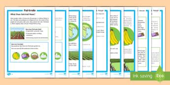 Fairtrade Differentiated Fact File English/Mandarin Chinese - KS1 Comprehensions, fairtrade, fair trade, equal trade, international, farmers, cocoa, bananas, tea,