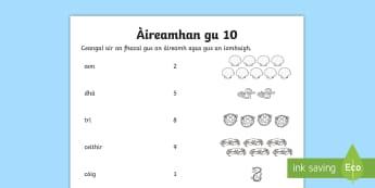 Mìrean-measgaichte gu 10 Duilleag-obrach - cfe, First level, A' Chiad Ire, puzzles, mìrean measgaichte, matamataigs, maths, Numbers to 10, Ai